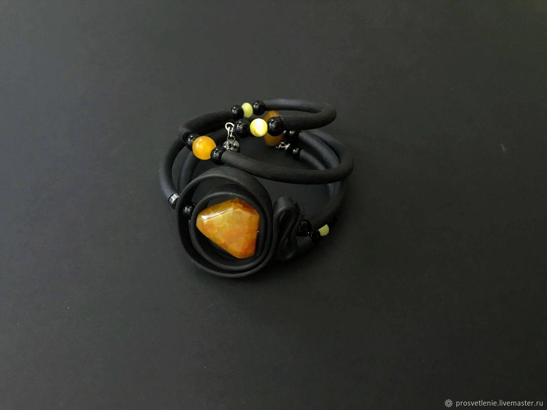 Bracelet with natural stone, stylish bracelet yellow agate rubber, Bead bracelet, Voronezh,  Фото №1