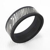 Кольца ручной работы. Ярмарка Мастеров - ручная работа Кольцо из дамасской стали и черного титана. Handmade.