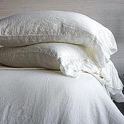 Для дома и интерьера handmade. Livemaster - original item Pillow made of linen with a frill on the bed of Shabby Chic/Christmas gift. Handmade.