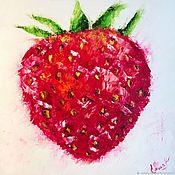 Картины и панно handmade. Livemaster - original item Oil painting: STRAWBERRY, m / x, 40h40, pop art, original. Handmade.