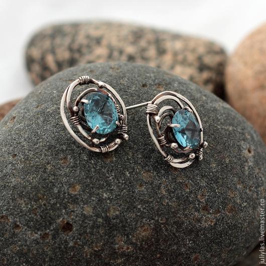 Серьги серебряные гвоздики Андромеда шикарное украшение из серебра