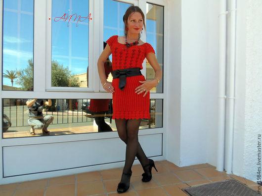 Платья ручной работы. Ярмарка Мастеров - ручная работа. Купить Вязаное платье,, Кармен,,. Handmade. Ярко-красный, коктельное платье