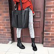 Классическая сумка ручной работы. Ярмарка Мастеров - ручная работа Сумка-шоппер кожаная Toth Z013 (черная). Handmade.