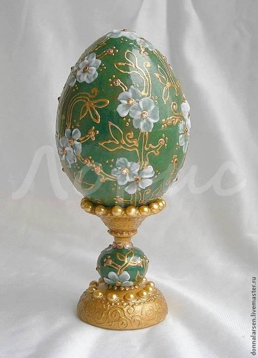 Яйца ручной работы. Ярмарка Мастеров - ручная работа. Купить Яйцо декоративное Жадеит в золоте. Handmade. Тёмно-зелёный, для интерьера