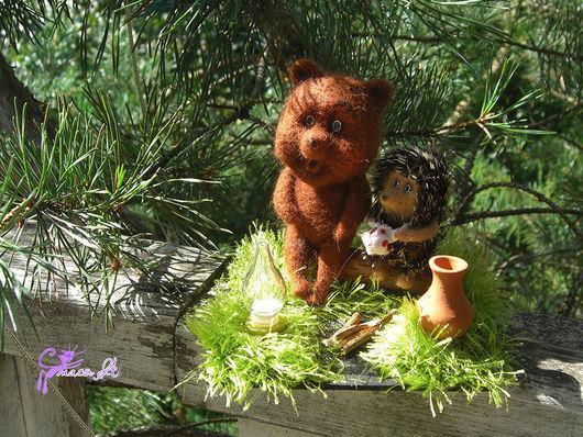 Сказочные персонажи ручной работы. Ярмарка Мастеров - ручная работа. Купить Ежик и медвежонок. Handmade. Разноцветный, филин
