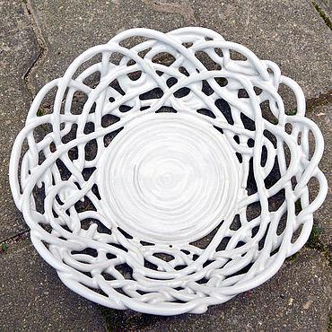 Для дома и интерьера ручной работы. Ярмарка Мастеров - ручная работа Фруктовница Белый ажур. Handmade.