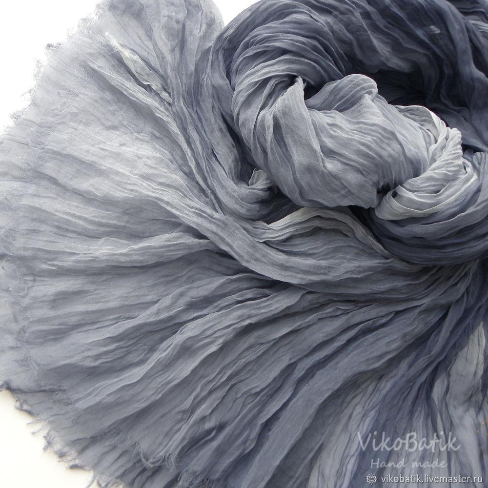 Grey Scarf Batik Stole Women's 'Smoke' Silk 100% Chiffon, Scarves, Kislovodsk,  Фото №1