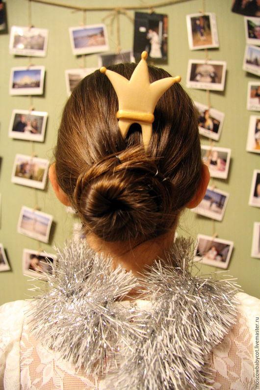 """Заколки ручной работы. Ярмарка Мастеров - ручная работа. Купить Заколка для волос из дерева """" Корона """". Handmade. Принцесса"""
