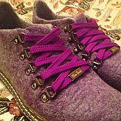 """Обувь ручной работы. Ярмарка Мастеров - ручная работа Валяные ботинки """"Сирень"""". Handmade."""