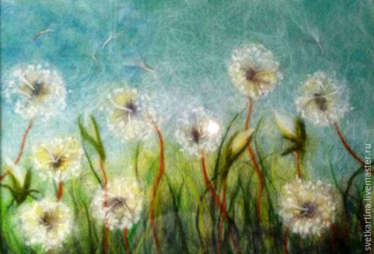 """Картины цветов ручной работы. Ярмарка Мастеров - ручная работа. Купить Картина шерстью """"Одуванчики"""". Handmade. Комбинированный, белый, зеленый"""
