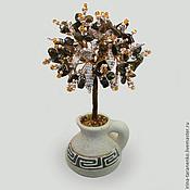 Цветы и флористика ручной работы. Ярмарка Мастеров - ручная работа Дерево из тигрового глаза в вазочке из белой глины. Handmade.