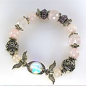 Украшения handmade. Livemaster - original item б40 Bracelet with rose quartz and aura quartz. Handmade.
