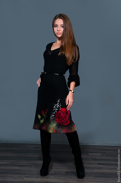 Платья ручной работы. Ярмарка Мастеров - ручная работа. Купить Миллион алых роз. Handmade. Черный, мохер, Валяние