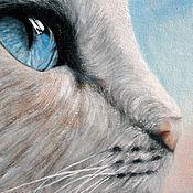 Картины и панно ручной работы. Ярмарка Мастеров - ручная работа Бездонный мир кошачьих глаз (18 х 24 см). Handmade.