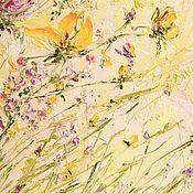 Картины и панно ручной работы. Ярмарка Мастеров - ручная работа Солнечные цветы, рельефная картина маслом, цветы мастихином, тюльпаны. Handmade.