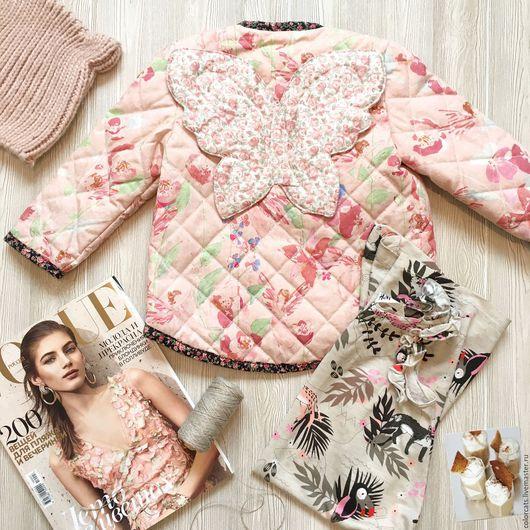 Одежда для девочек, ручной работы. Ярмарка Мастеров - ручная работа. Купить Куртка детская стеганая с крыльями. Handmade. Бледно-розовый