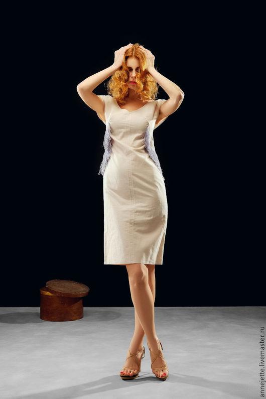 """Платья ручной работы. Ярмарка Мастеров - ручная работа. Купить Платье """"Шик"""". Handmade. Бежевый, бахрома, великий гэтсби"""