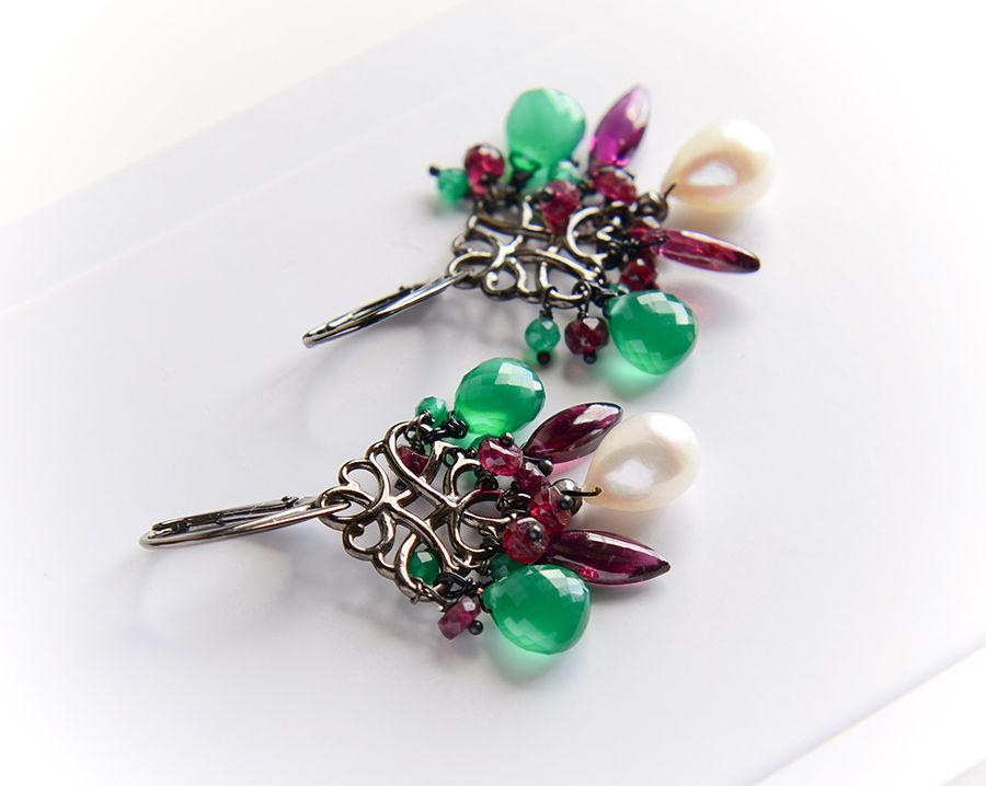Earrings with pearls, garnet, onyx in 925 silver, Earrings, Moscow,  Фото №1