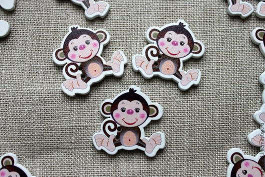 """Шитье ручной работы. Ярмарка Мастеров - ручная работа. Купить Деревянные пуговицы """"обезьянки"""". Handmade. Разноцветный, пуговицы, пуговицы круглые"""