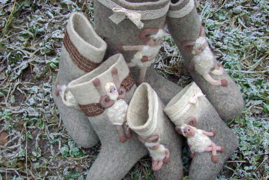 """Обувь ручной работы. Ярмарка Мастеров - ручная работа. Купить Валенки """"Барашки-милашки"""". Handmade. Серый, валенки ручной валки"""