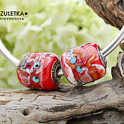 Материалы для творчества handmade. Livemaster - original item Bright Luxury 1 bead lampwork - sterling silver core 925. Handmade.