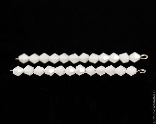 Для украшений ручной работы. Ярмарка Мастеров - ручная работа. Купить 1474_Белые бусины стекло 4 мм, Бусины биконус, Граненые бусины,Матовые. Handmade.