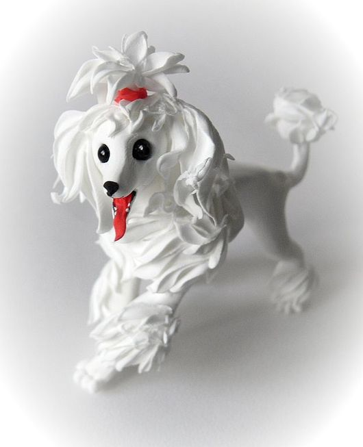 """Игрушки животные, ручной работы. Ярмарка Мастеров - ручная работа. Купить фигурка """"Белый пудель"""". Handmade. Пудель, собака, собачка"""