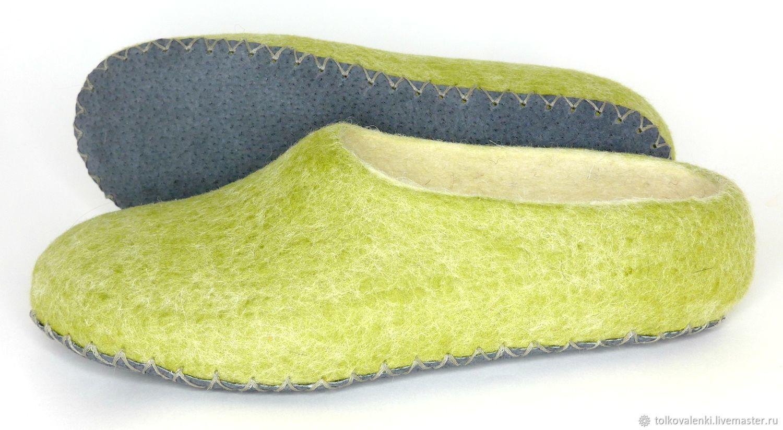 Women's Slippers felted light green on the sole, Slippers, Ramenskoye,  Фото №1