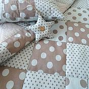 Для дома и интерьера ручной работы. Ярмарка Мастеров - ручная работа Лоскутное одеяло Шоколадные горохи. Handmade.