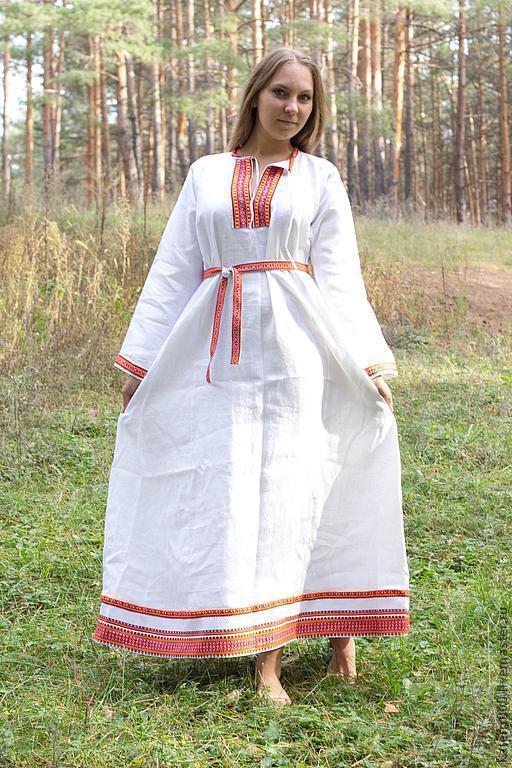 """Этническая одежда ручной работы. Ярмарка Мастеров - ручная работа. Купить Платье """"Берегиня"""" белое. Handmade. Белый, этно, акрил"""