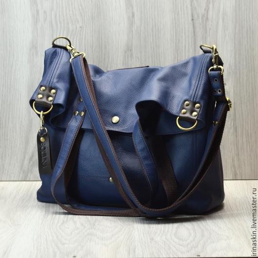 Женские сумки ручной работы. Ярмарка Мастеров - ручная работа. Купить Большая кожаная сумка-мешок. Темно-синий, темно-коричневый цвет. Handmade.