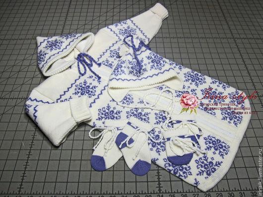 детский комплект;  вязаный спальник;  спальник, шапочка, рукавички, носочки; вязаный детский комплект; зимний вязаный комплект