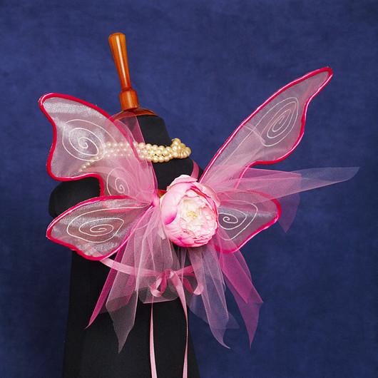 """Карнавальные костюмы ручной работы. Ярмарка Мастеров - ручная работа. Купить """"Розовые"""" крылья феи или бабочки средние. Handmade."""