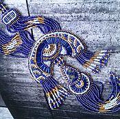 Украшения ручной работы. Ярмарка Мастеров - ручная работа Восточная ночь: вышитый бисером кулон с натуральным лазуритом. Handmade.