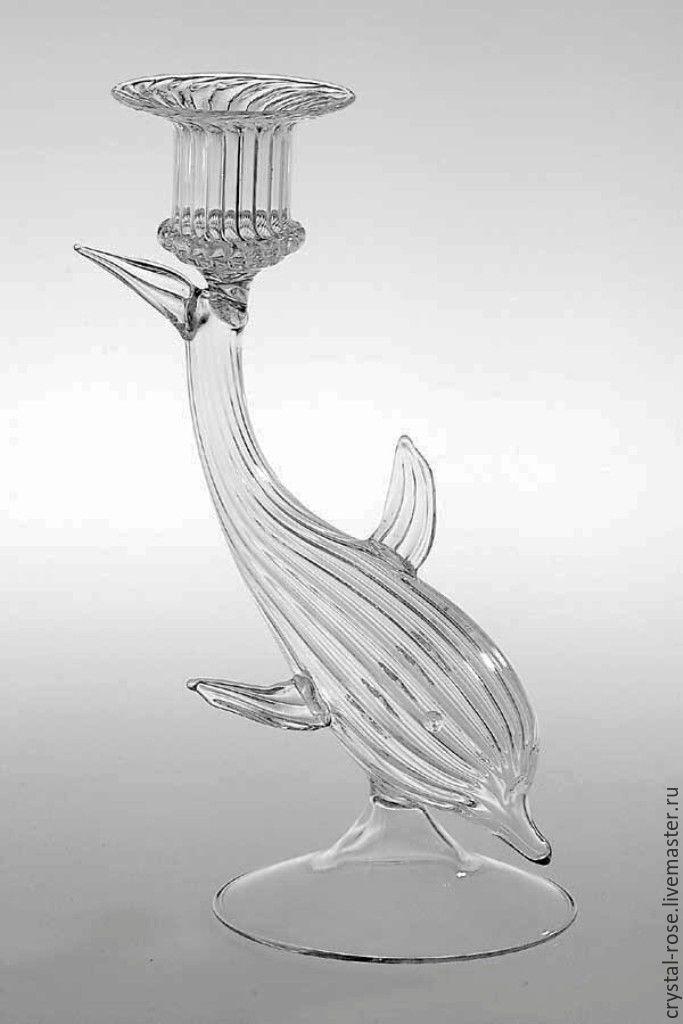 Подсвечник из богемского стекла. Дельфин, Подсвечники, Москва,  Фото №1