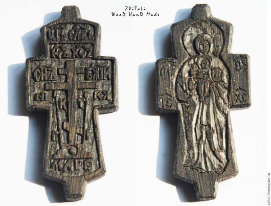 Старообрядческий нательный крест c образом Валаамской Божией Матери Размер: 7 х 3,4 х 0,7 см.