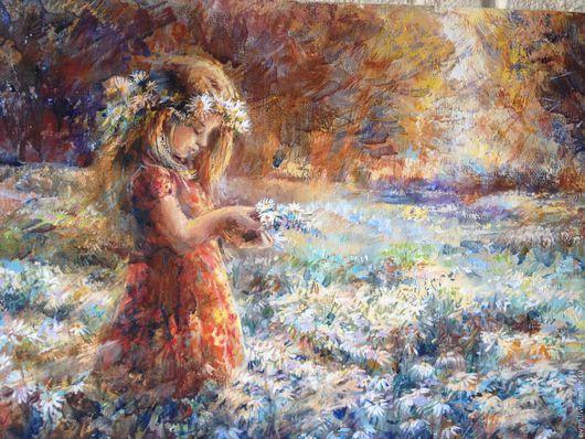 """Люди, ручной работы. Ярмарка Мастеров - ручная работа. Купить Картина """" Ромашковое поле"""".. Handmade. Разноцветный, авторская живопись"""