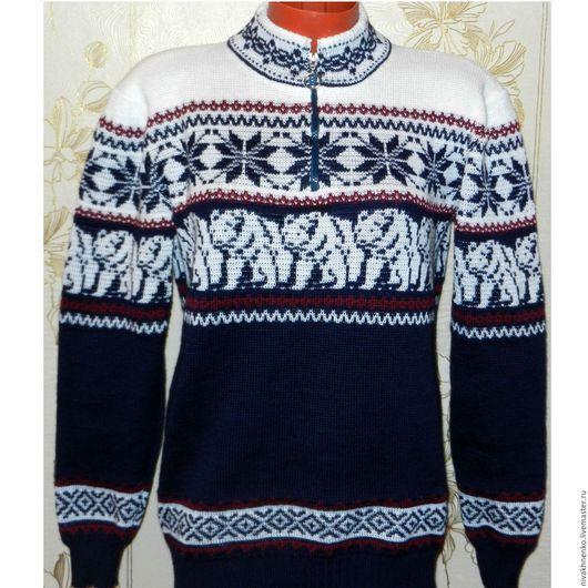 Кофты и свитера ручной работы. Ярмарка Мастеров - ручная работа. Купить Вязаный свитер с норвежским орнаментом  Белый медведь. Handmade.