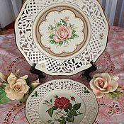 Vintage plates handmade. Livemaster - original item Large porcelain openwork dish, Germany, Bavaria,Schumann. Handmade.