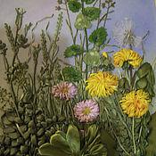 Картины и панно ручной работы. Ярмарка Мастеров - ручная работа Картина вышитая лентами Полевые цветы. Handmade.