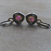 Украшения handmade. Livemaster - original item Earrings with tourmaline sections, silver and brass. Handmade.