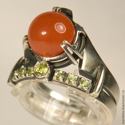 """Кольца ручной работы. Ярмарка Мастеров - ручная работа. Купить Кольцо с карнеолом """"Дуэт"""". Handmade. Дуэт, подарок, перидот"""