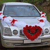 Украшения на машину ручной работы. Ярмарка Мастеров - ручная работа Свадебные украшение на машину,бело-красное. Handmade.