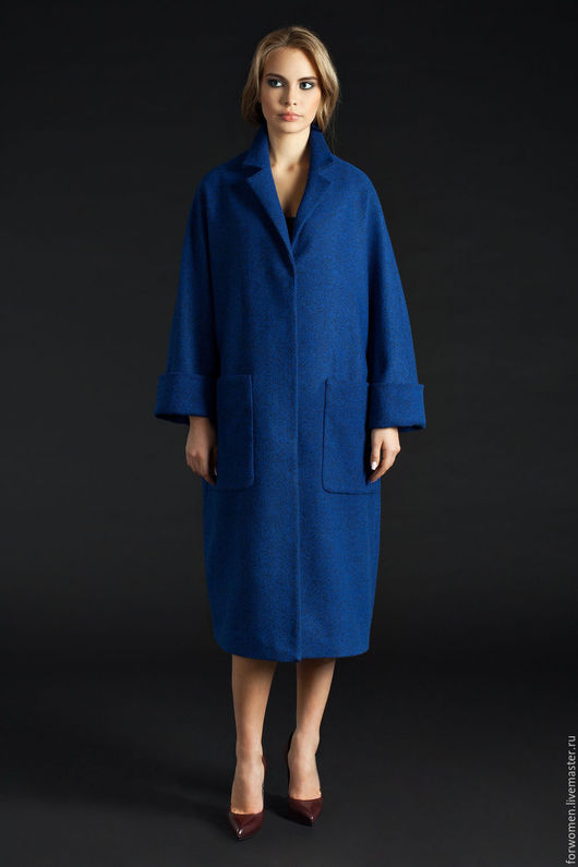 Верхняя одежда ручной работы. Ярмарка Мастеров - ручная работа. Купить Длинное пальто, ультрамарин. Handmade. Тёмно-синий