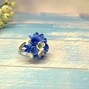 """Украшения ручной работы. Ярмарка Мастеров - ручная работа кольцо """"Синие цветы"""" из полимерной глины. Handmade."""