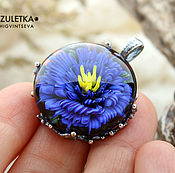 Украшения handmade. Livemaster - original item Wonderful Cornflower - pendant blue flower - glass cabochon - designer. Handmade.