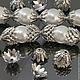 Шапочки для бусин Хризантема с покрытием имитирующим серебро с чернением для использования в сборке украшений комплектами по 10 штук