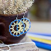 Украшения ручной работы. Ярмарка Мастеров - ручная работа Желто-голубые серьги, фриволите. Handmade.