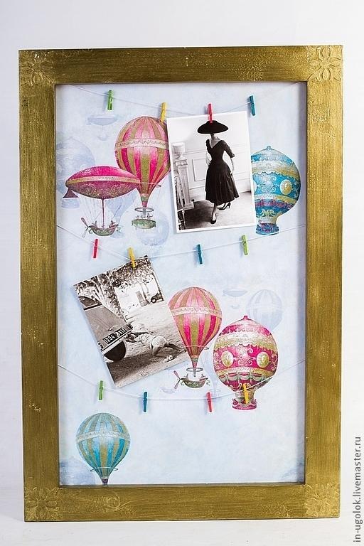 """Фоторамки ручной работы. Ярмарка Мастеров - ручная работа. Купить Рамка для фото """"Воздушные  шары"""". Handmade. Золотой, оформление фотографий"""