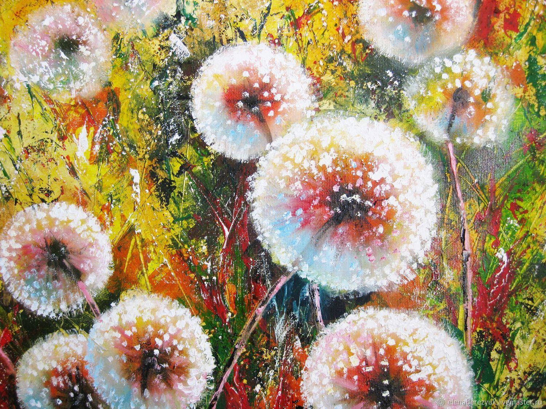 dandelion flower art dandelion flower painting floral landscape art